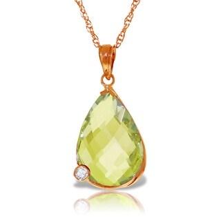 5.04 Carat 14K Solid Gold Necklace w/ Briolette Lemon Quartz & Diamond (24 Inch - Rose)