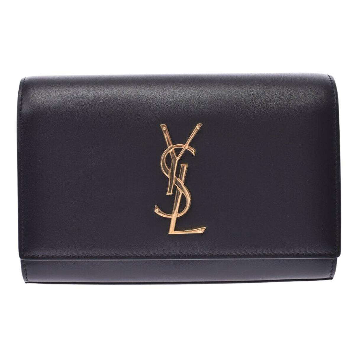 Saint Laurent Kate monogramme Black Leather Clutch bag for Women N