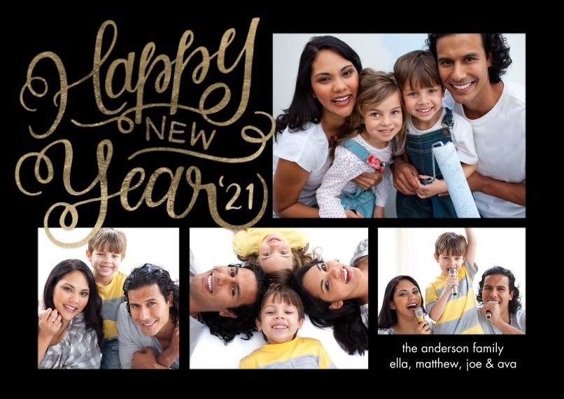 New Year's Photo Cards Mail-for-Me Premium 5x7 Flat Card, Card & Stationery -New Year 2021 Script by Tumbalina