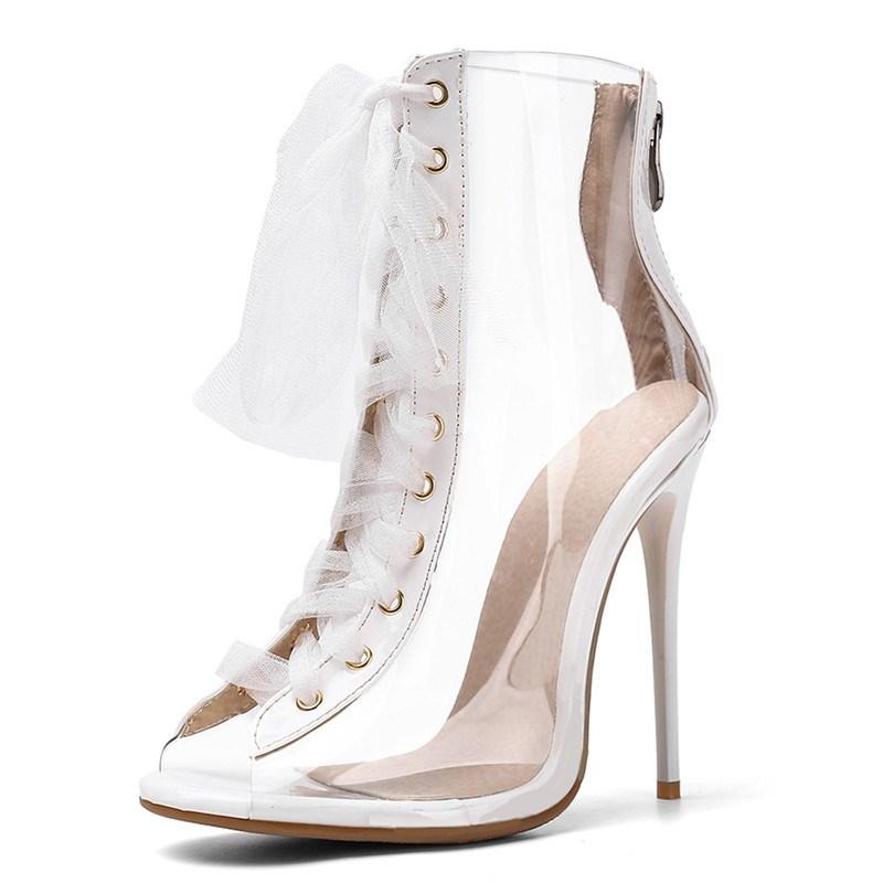 Ericdress Cross Strap Peep Toe High Heel Boots