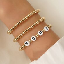 3pcs Letter Decor Beaded Bracelet