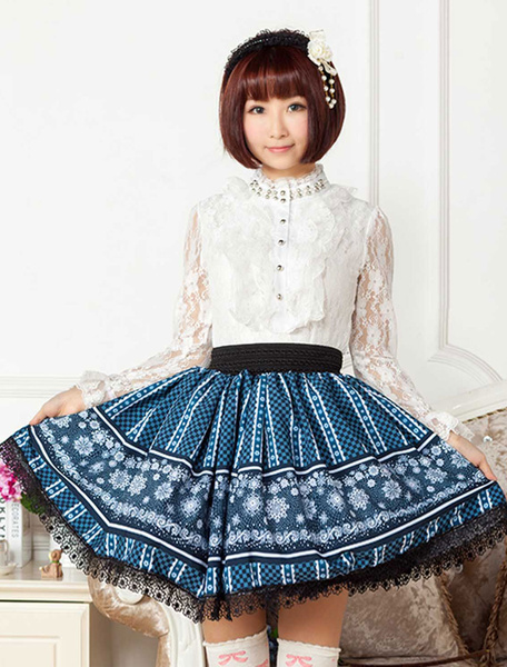 Milanoo Blue Lace Polyester Lolita Skirt for Girls