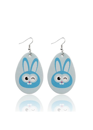 Mother's Day Gifts Light Blue Plastic Animal Print Earring Set - One Size