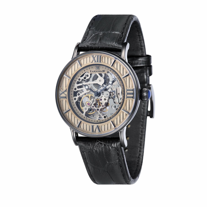 Thomas Earnshaw Men's Beagle ES-8038-SETC-04 Black Leather Automatic Self Wind Fashion Watch