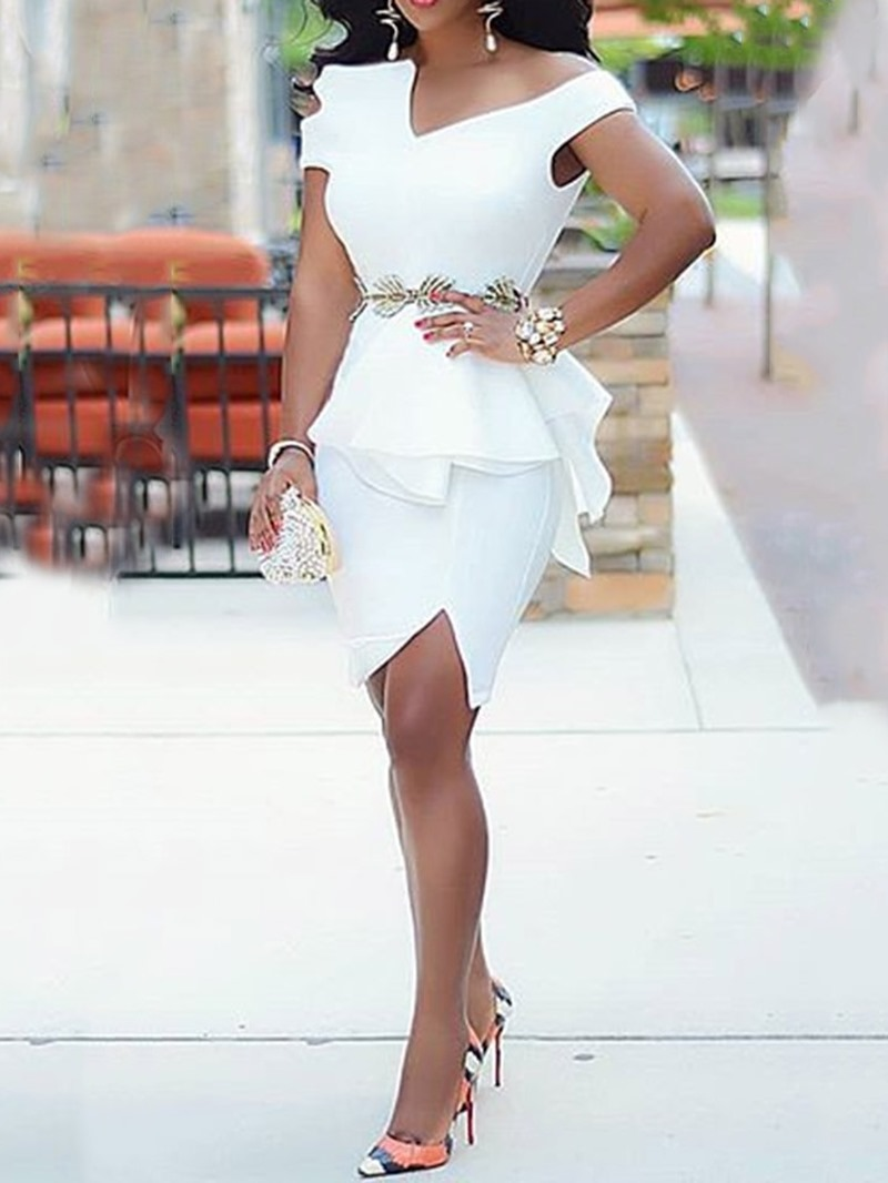 Ericdress White Dress OL Short Sleeve Above Knee Split Ruffles Bodycon White Dress(Without Waistband)
