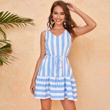 Flounce Hem Striped Smock Dress