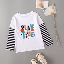 2 In 1 T-Shirt mit Ball & Buchstaben Grafik