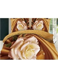 3D Blooming White Rose Printed Cotton 4-Piece Bedding Sets/Duvet Covers