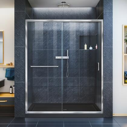 DL-6970C-88-01 Infinity-Z 30 D X 60 W X 74 3/4 H Clear Sliding Shower Door In Chrome And Center Drain Black