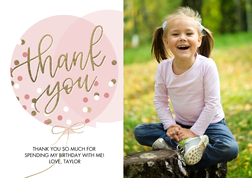 Thank You Cards 5x7 Cards, Premium Cardstock 120lb with Rounded Corners, Card & Stationery -Thank You Balloon Dots by Tumbalina