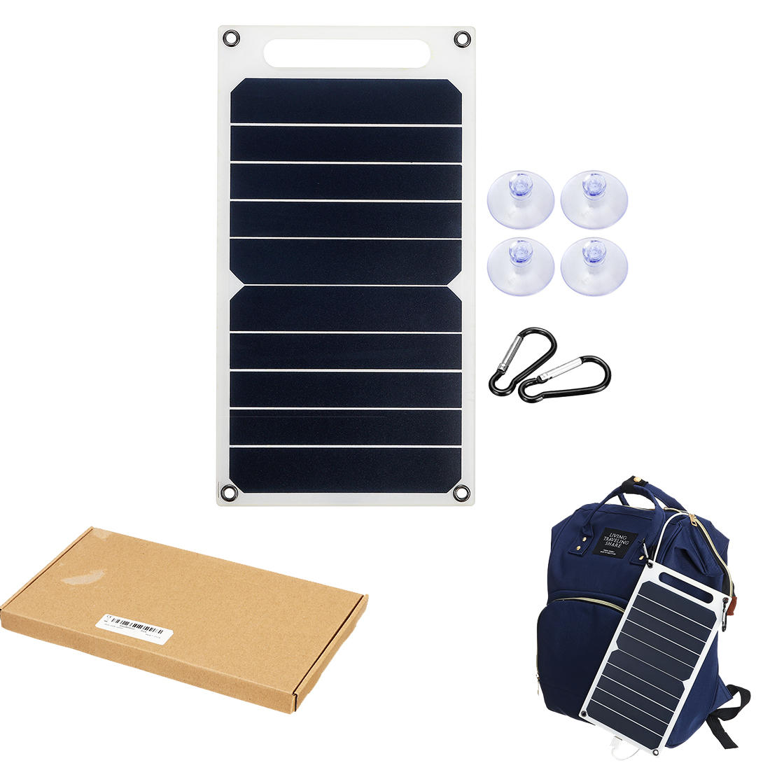 6W 6V 260x140x2.5mm S0506 Portable Semi-flexible Solar Panel with Back Junction Box Single USB Charger + 4xSucker + 2x C