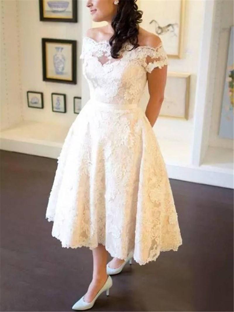 Ericdress A-Line Tea-Length Appliques Beach Wedding Dress