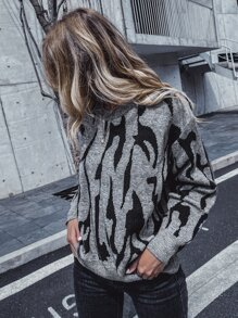 Graphic Pattern Drop Shoulder Oversized Sweater