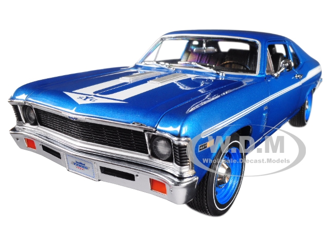 1969 Chevrolet Yenko Nova Blue with White Stripes Limited Edition to 1002 pieces Worldwide 1/18 Diecast Model Car by Autoworld