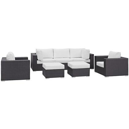 Convene Collection EEI-2200-EXP-WHI-SET 7-Piece Outdoor Patio Sectional Set with Armless Section  2 Armchairs  2 Corner Sections and 2 Ottomans in