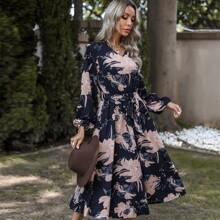 Large Floral Belted A-line Dress
