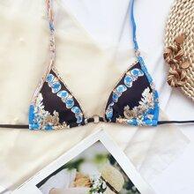 Baroque Micro Triangle Halter Bikini Top