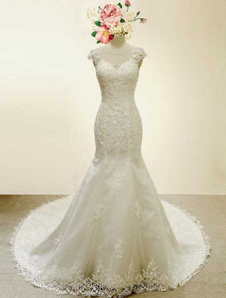 Milanoo High Qulity Lace  Mermaid Wedding Dress Illusion Chaple Train Ivory Beading Bridal Gown