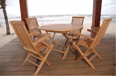 SET-28 5-Piece Dining Set with Bahama 47 Round Folding Table and 4 Classic Folding