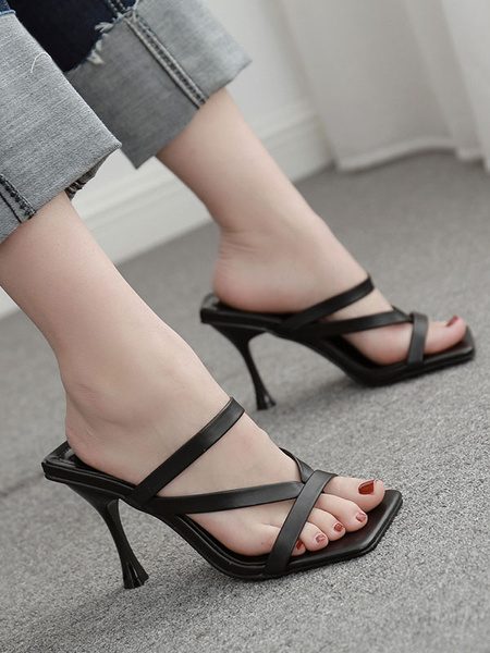 Milanoo High Heel Slides Sandals Black Open Toe Slip On Shoes