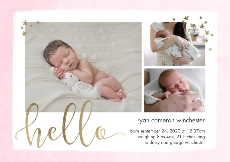 Baby Announcements 5x7 Cards, Premium Cardstock 120lb with Elegant Corners, Card & Stationery -Baby Hello Stars by Tumbalina