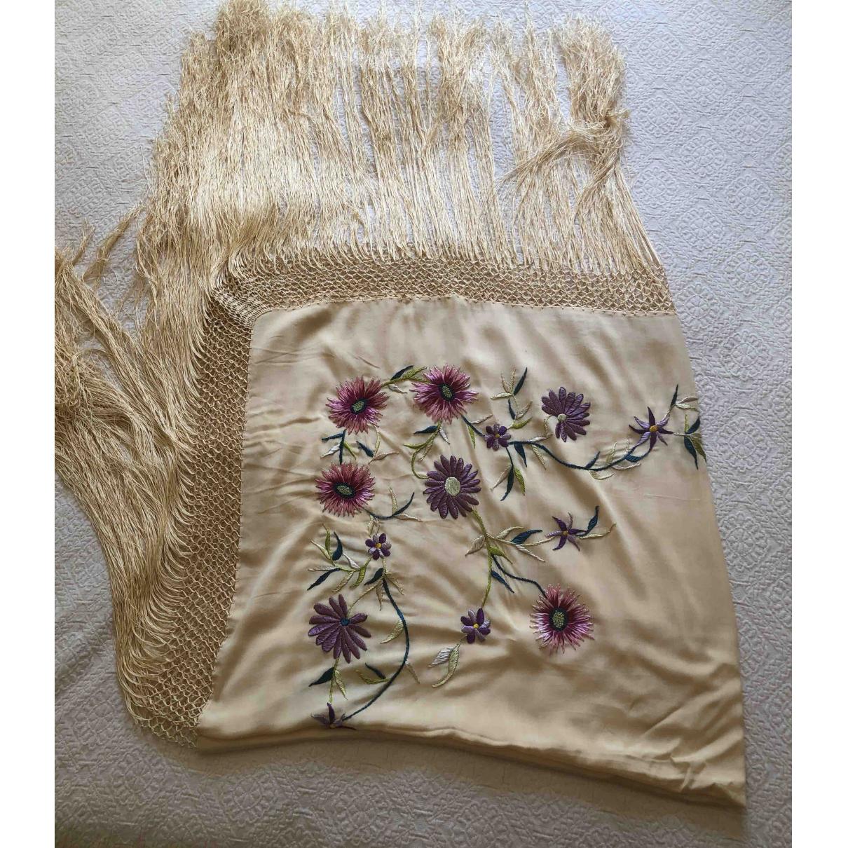 Non Signé / Unsigned Hippie Chic Ecru Silk scarf for Women \N