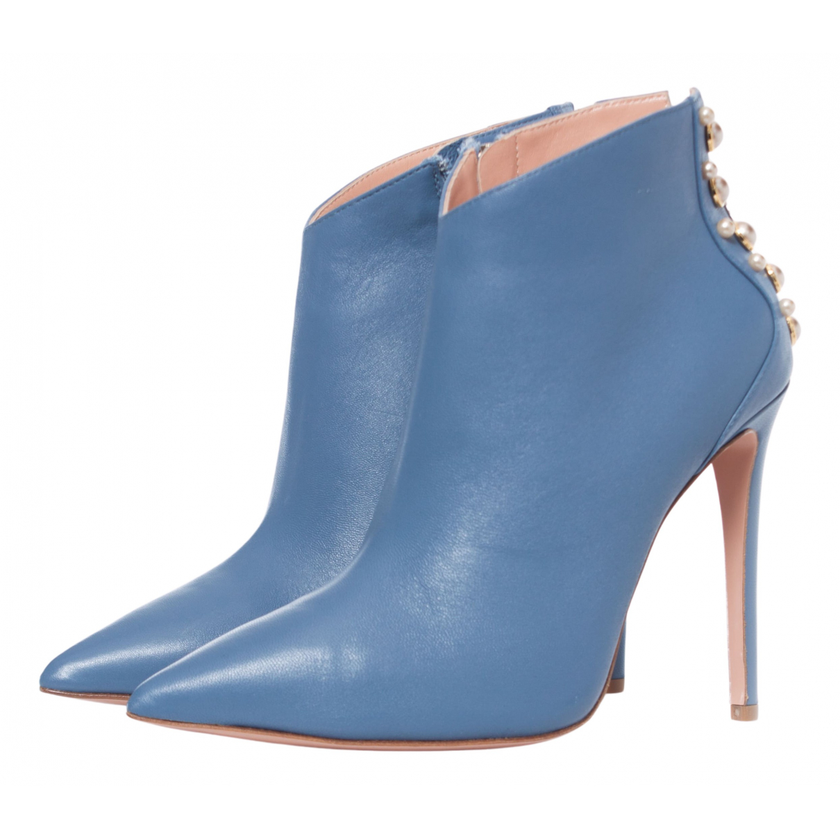 Elisabetta Franchi N Blue Leather Ankle boots for Women 38 EU