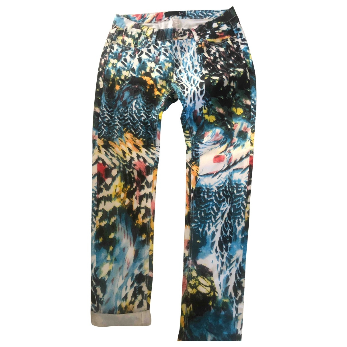 Just Cavalli \N Blue Cotton Trousers for Women 32 FR