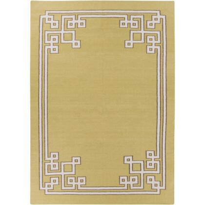 AMD1021-811 8' x 11' Rectangular Alameda Reversible 100% Wool Rug with No Pile and Hand Woven in India in Olive and
