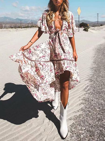 Milanoo Vestido de verano Boho Cuello en V Manga corta Impreso Vestido de playa de corte bajo alto