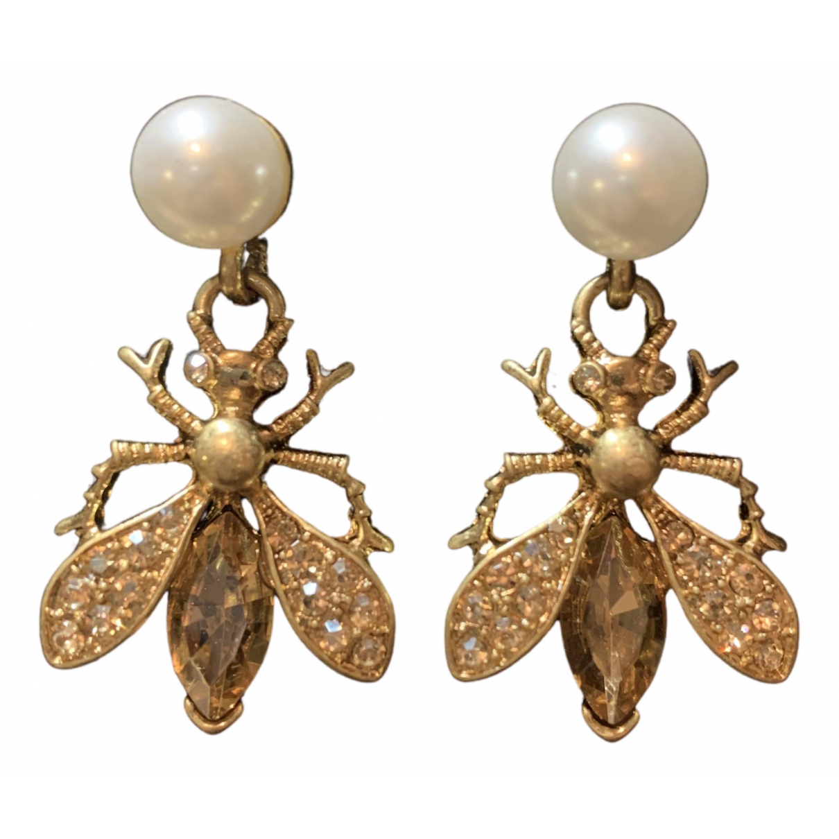 Non Signé / Unsigned Motifs Animaliers Gold Metal Earrings for Women N