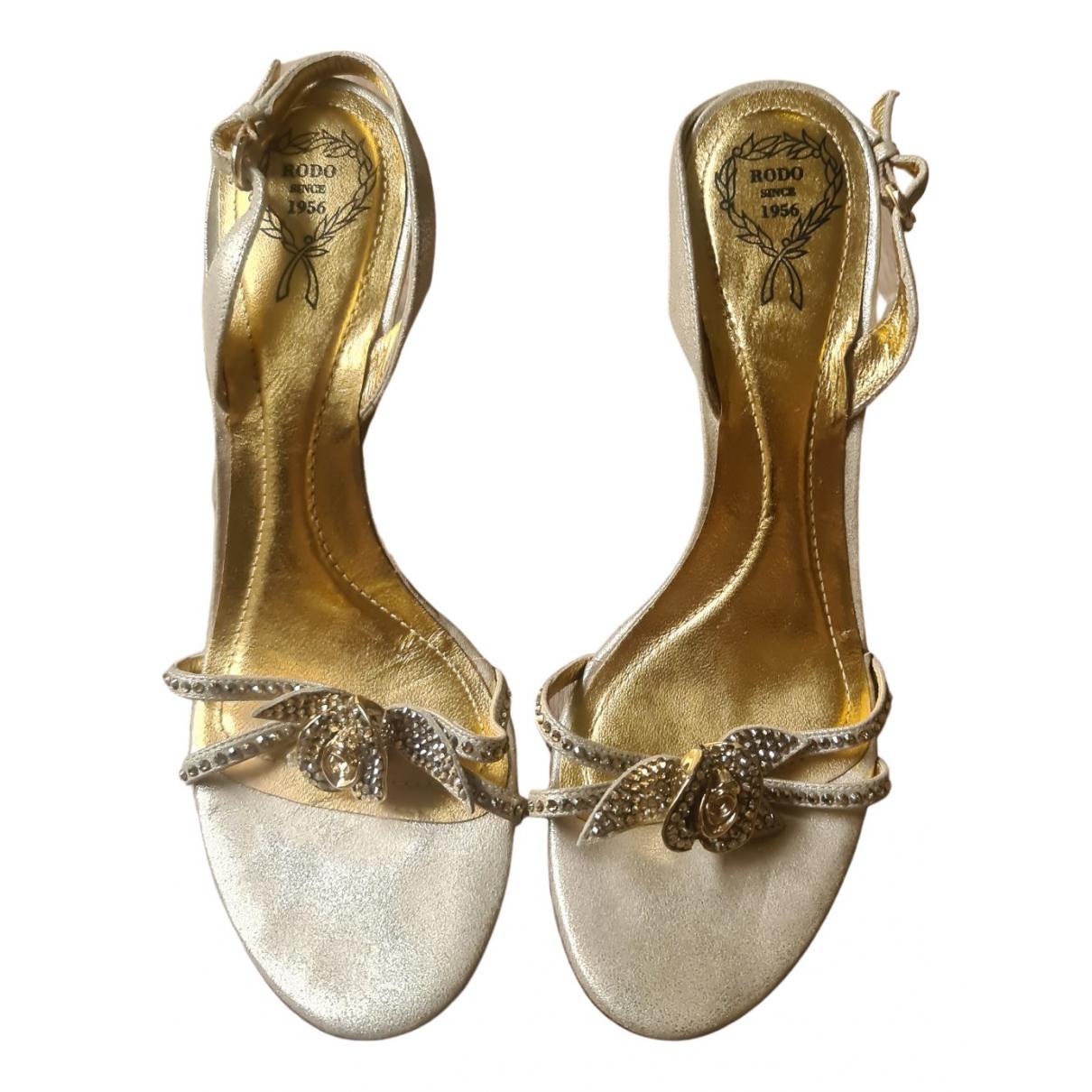 Rodo - Sandales   pour femme en suede - dore