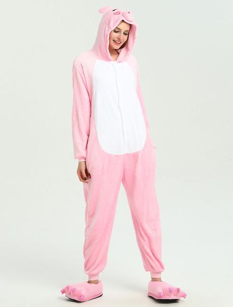 Milanoo Disfraz Halloween Piglet Onesie Kigurumi Adultos Pink Winter Flannel Jumpsuit Halloween Carnaval Halloween