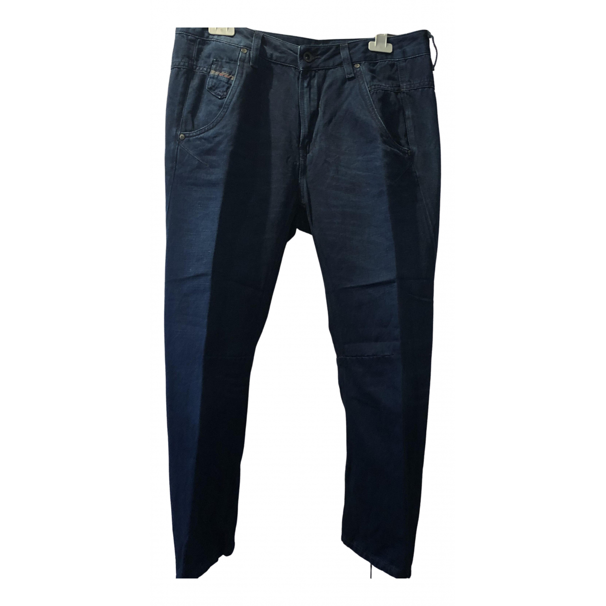 Diesel \N Blue Linen Trousers for Women 42 IT
