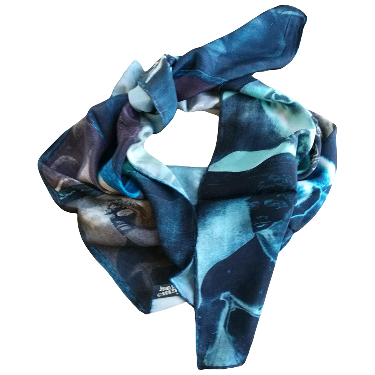 Jean Paul Gaultier - Foulard   pour femme en soie - bleu