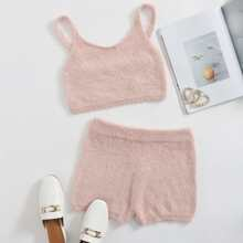 Solid Fluffy Knit Top & Shorts Set
