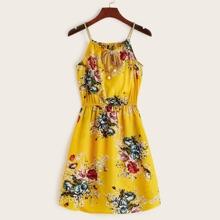 Floral Self-Tie Braided Cami Mini Dress