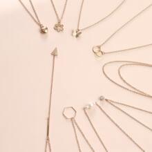 9 Stuecke Halskette mit Schmetterling & Geometrie Anhaenger