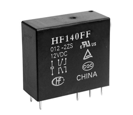 Hongfa Europe GMBH , 12V dc Coil Non-Latching Relay DPDT, 10A Switching Current PCB Mount, 2 Pole (2)