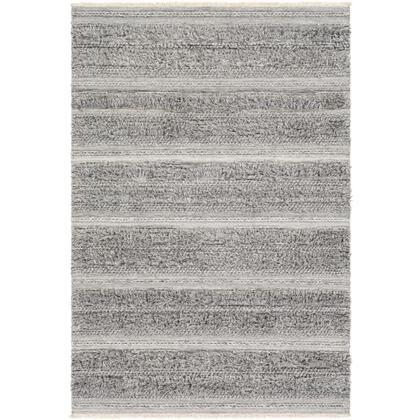 Lugano LUG-2303 8' x 10' Rectangle Global Rug in Medium Gray  Black