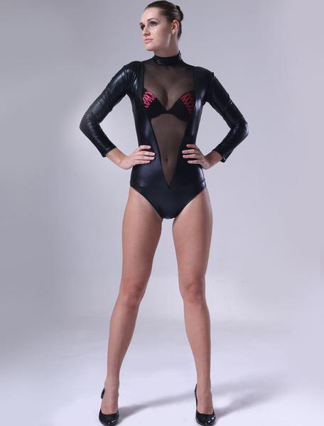 Milanoo Disfraz Halloween Negro brillante metalizado busto abierto leotardo para mujeres Halloween