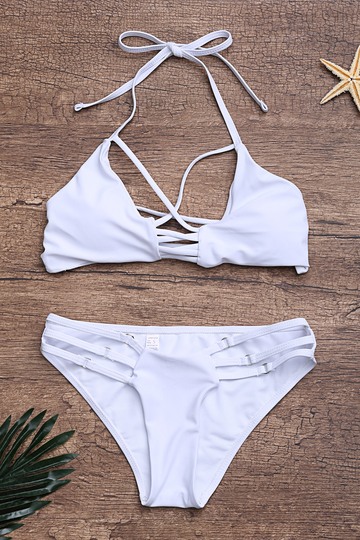 Yoins Strappy Criss-cross Design Bikini Set in White