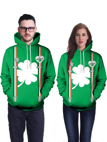 Milanoo St Patricks Day Green Hoodie Clover Printed Top Irish Unisex Hooded Pullover Sweatshirt Halloween