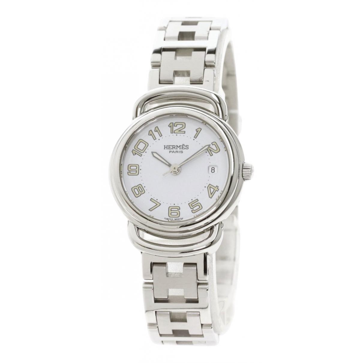 Hermes Pullman Uhr in  Silber Stahl