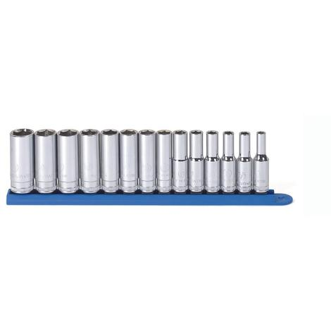 GearWrench Socket Set, 3/8 In. Drive 6 Point Deep Metric, 14 Pc.