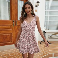 Floral Surplice Front Ruffle Hem Knot Cami Dress