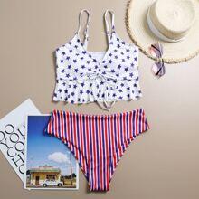 Bikini Badeanzug mit Stern & Streifen Muster und Raffungsaum