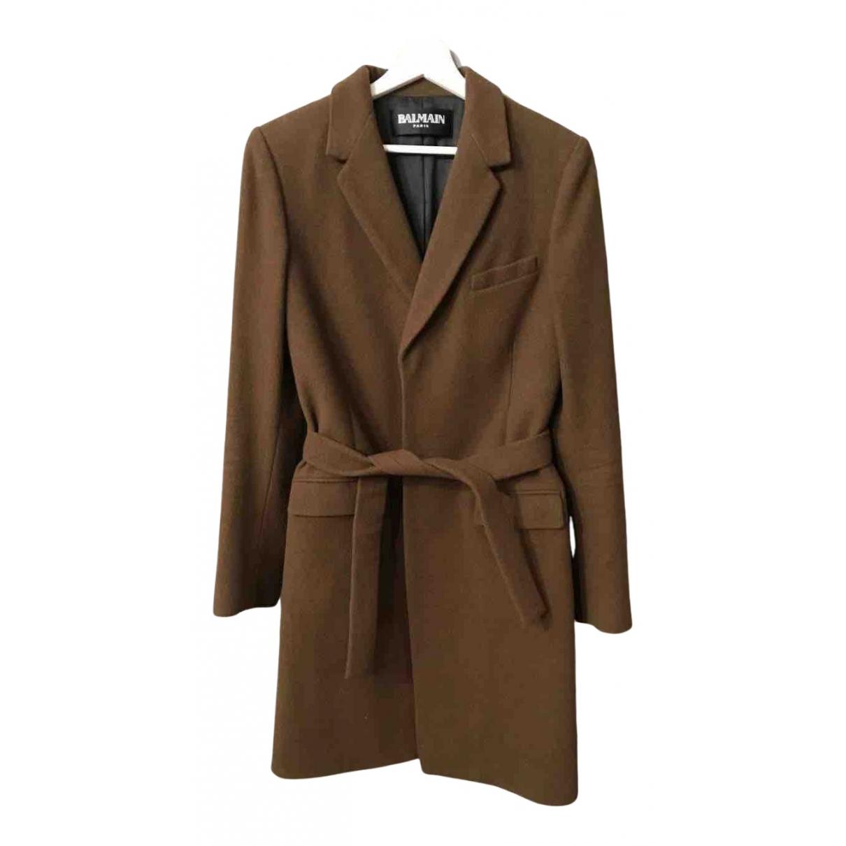 Balmain - Manteau   pour femme en laine - marron