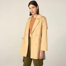 Baumwollmischung Mantel mit Karo Muster