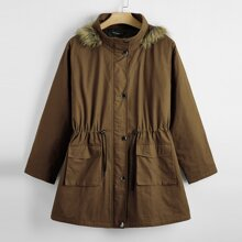 Plus Drawstring Waist Button Through Hooded Parka Coat